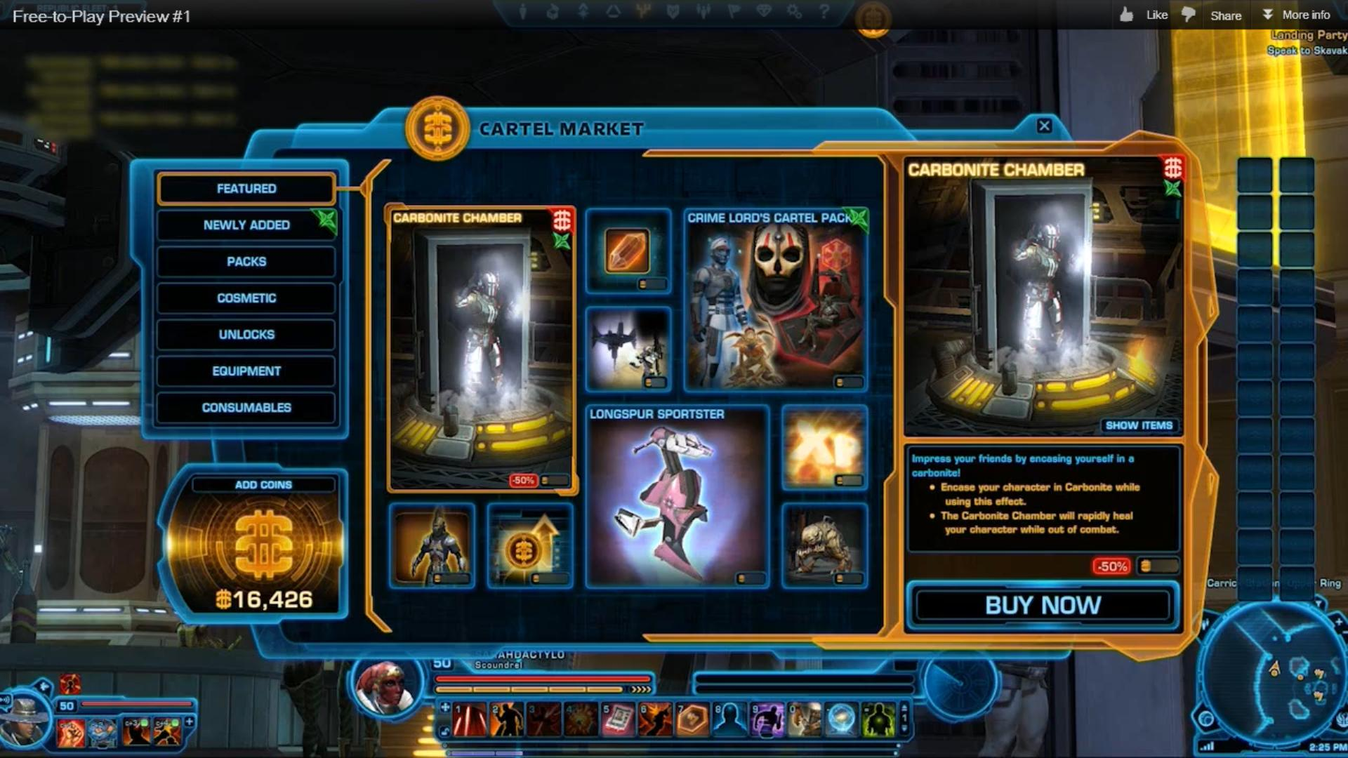 Large screenshot of in-game Cartel Market window