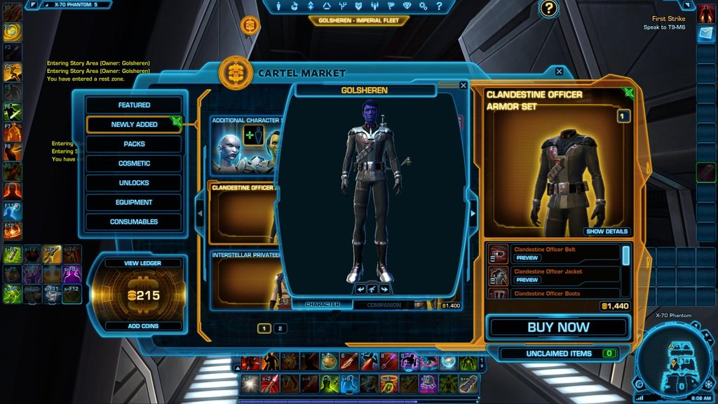Clandestine Officer Armor set – 1440 CC