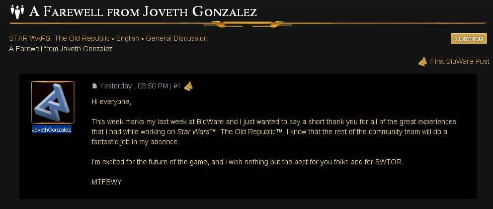 Joveth Gonzalez leaves BioWare