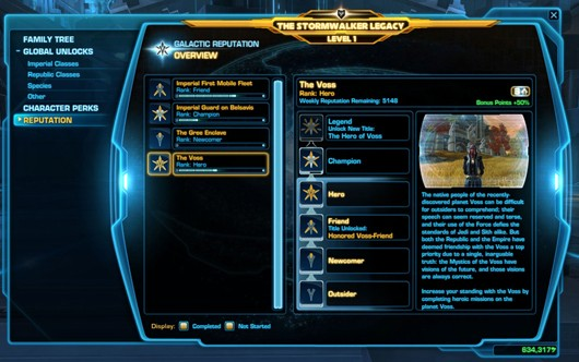 swtor Galactic Reputation System