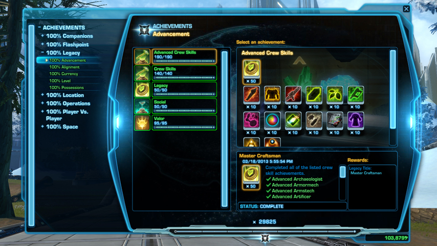 swtor Legacy Achievements