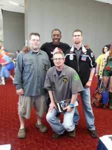 """Meeting Ernie Hudson, myself in the middle front, Kelly McDaniels on the left and Stephen Smithers on the right"" Credit- David Gillaspy"