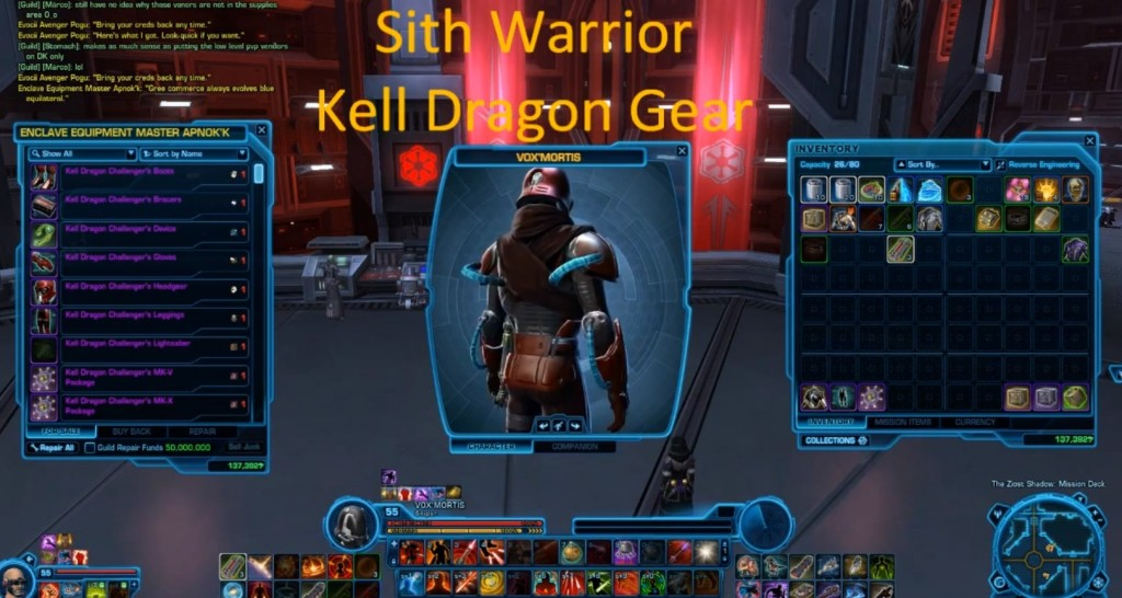 sith warrior kell dragon gear