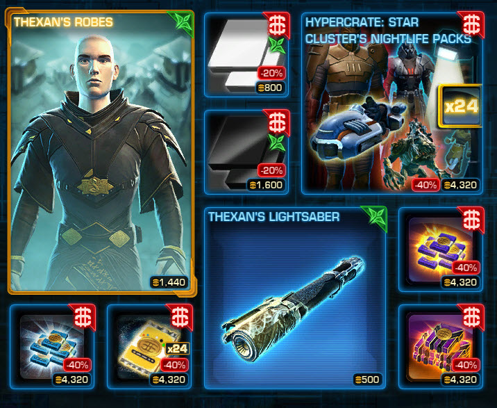 SWTOR Cartel Market Weekly Sales for the week of Oct 13-20.