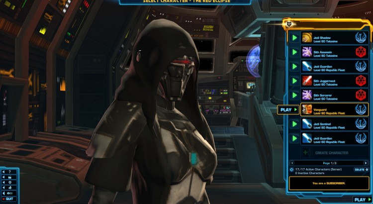 Putting a Freeze on Your SWTOR Account