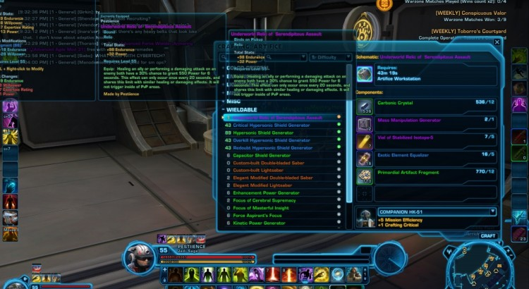 Thoughts on SWTOR Elder Game Crafting