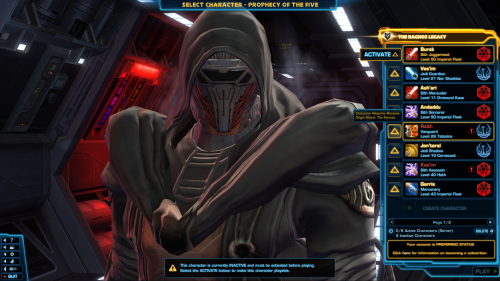 SWTOR Max Character Slots to be expanded to 50