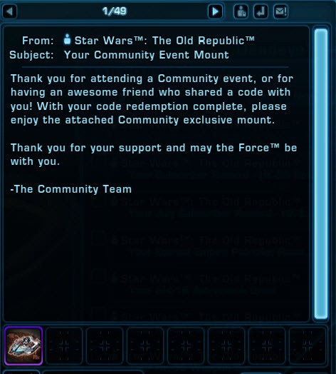 Mount code from swtor nyc cantina then exit the game and when you log back in you will receive the korrealis sheriff speeder in your mailbox you get one for every character existing and fandeluxe Gallery