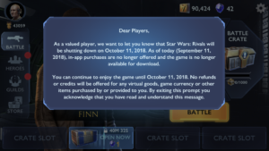 Star Wars: Rivals is shutting down October 11th 2018