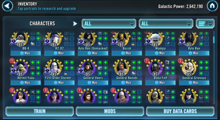 Star Wars Galaxy of Heroes Event Calendar - March 2019